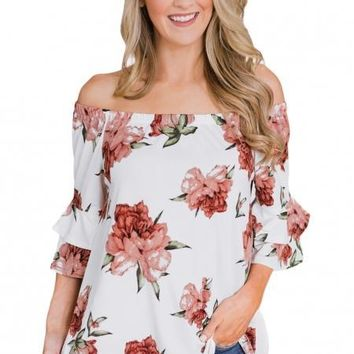 Chic White Floral Off The Shoulder Top