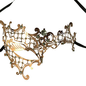 Unique Black Phantom Metal Laser Cut Masquerade Mask Aurora Borealis Rhinestones