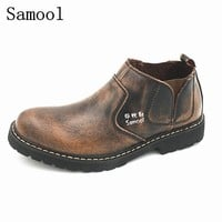 Men Shoes Flats Genuine Leather Breathable Shoes Autumn Winter Casual British Fashion Anti-skid Boots Comfortable Outdoor Shoe 2
