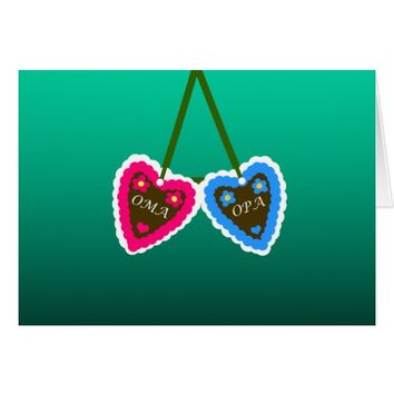 Oma and Opa Gingerbread Hearts ~ Lebkuchenherzen Card