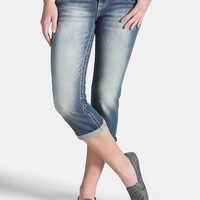 Vigoss Medium Wash Capri With Studs - Medium Sandblast