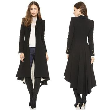 Yaxez 2018 Women Plus Size Long Goth Coat Autumn winter swallowtail Black Pleated Wool Trench Dovetail 5XL 6XL Female Outwear