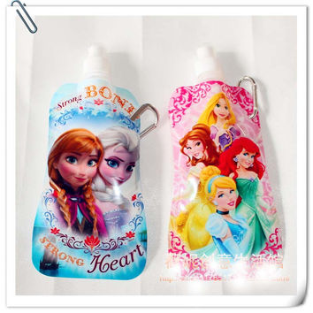 New Cartoon Elsa & Anna Princess Portable Folding Sports Water Cup 480ml 16oz,Collapsible Drinking Water Cup for Baby Kids