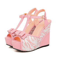 T-Strap Wedges Bow-tie Sandals