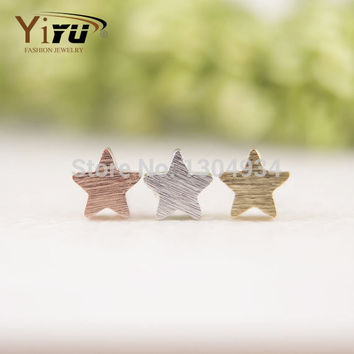 2016 New Fashion Jewelry Little Star Stud Earrings for Women Copper Brushed Star Small Earrings Party Gift E025
