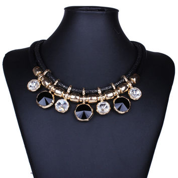 Best Deal New Diomedes Elegant Women Colorful Rhinestones Choker Necklace Bohemia Tassels Leaf Necklace 1PC