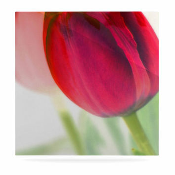 "Alison Coxon ""Tulips"" Red White Luxe Square Panel"