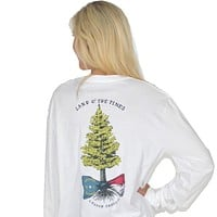 Land o' the Pines Long Sleeve Tee in White by Lauren James - FINAL SALE