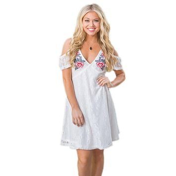 White Cold Shoulder Floral Embroidery Lace Dress
