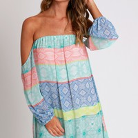 Flirty Fiesta Open Shoulder Dress