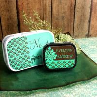 Damask Personalized Wedding Place Setting Mint Tins, Wedding Favors, Candy Favors