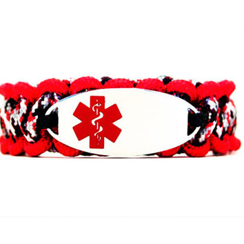 Personalized Thin Kids Medical Alert ID Paracord Bracelet w/ Oval Stainless Steel Engraved ID Tag - Red Medical Symbol