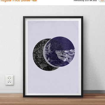 SALE 15% OFF ON Sale Poster Astronomy Moonscape Vintage Collage Art