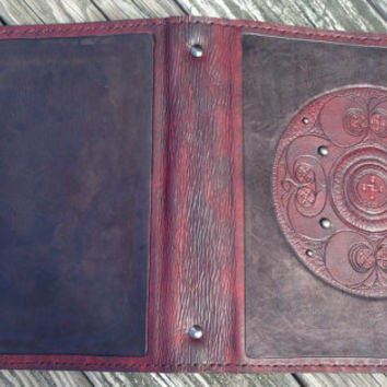 Leather Binder / Hand Tooled in Antiqued Mahogany and Black - BATTERSEA