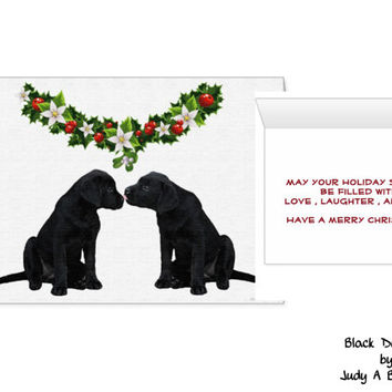 Black Lab Christmas Card - Christmas In July - Dog Christmas Card - Black Lab Holiday card 6 - Black Dog Christmas - Greeting card -