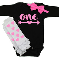 Baby Girl First Birthday Outfit, Black & Pink Sparkle 1st birthday Onesuit with Arrow | Pink Hearts Leg Warmers, Pink Sequin Bow on Headband