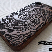 SALE30%OFF: Natural Wood iPhone 4 Case - Engraved Whirlpool iPhone Case // Sea, Water, Sapele Wood, Art, Laser Engraving, Gift, Relief, 4s