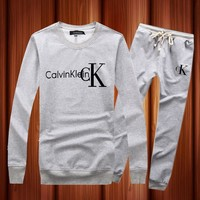 One-nice™ CALVIN KLEIN Woman Men Long Sleeve Shirt Top Tee Pants Trousers Set Two-Piece Sportswear