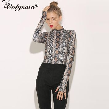 Colysmo Sexy High Neck Long Sleeve Women Bodysuits Leopard Snakeskin Playsuits Autumn Rompers club Jumpsuits Overall Bodice New