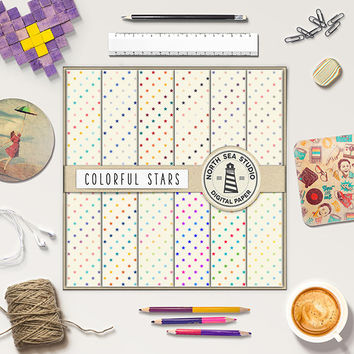 Star Digital Paper Colorful Stars Printable Paper Stars Pattern Cardmaking Invites Crafts Soft Colors DIY Star Background Party Paper 12x12