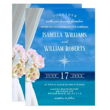 Elegant Floral Ocean Beach Wedding Invitation