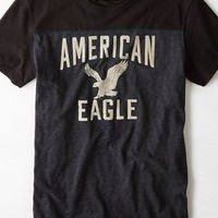 AEO Men's Flocked Graphic Vintage T-shirt (Bold Black)