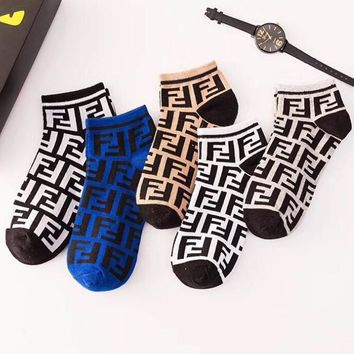 FENDI Fashionable Women Men Casual Double F Letter Breathable Pure Cotton Sport Socks