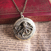 antique bronze octopus locket necklace jewelry