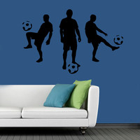 Three Soccer Players Wall Decals Sportsman With Balls Gym Interior Design Sport Vinyl Decal Sticker Boy Kids Nursery Baby Room Decor kk780