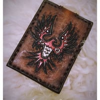 Leather Card Wallet with First Nations Art Thunderbird - Minimalist Wallet, Leather Wallet, Mens Leather Wallet, Slim Leather Wallet