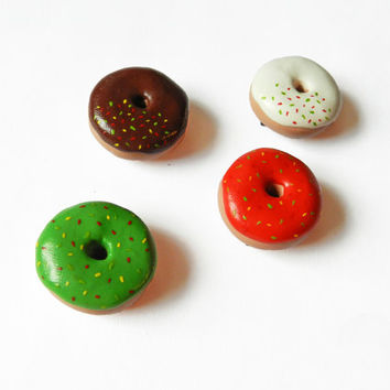 Donut Magnets - Food Magnets - Kitchen Magnet - Polymer Clay Magnets - Christmas Magnets - Doughnut Magnet - Kawaii - Miniature Food