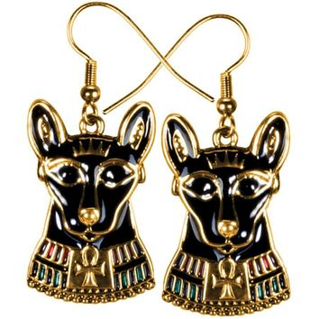 Bastet Cat Egyptian with Ankh Dangle Color Costume Earrings and Necklace