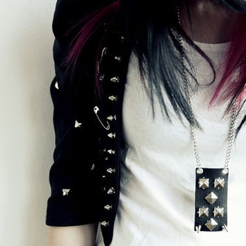 Leather Necklace with Spikes and studs
