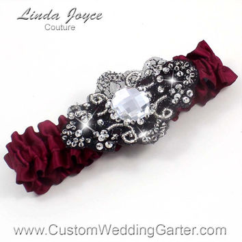 Burgundy and Black Vintage Wedding Garter Bridal Jewel 332 Burgundy Wine Maroon Beaded Luxury Prom Garter Plus Size & Queen Size Available
