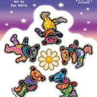 Grateful Dead Mosaic Dancing Bears and Daisies Outside Window Sticker
