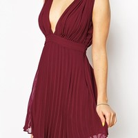 ASOS PETITE Pleated Mini Dress With Plunge