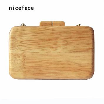 2017 New brand fashion Women messenger bag Cute handbag small solid evening bag Vintage wallet elegant wooden casual Prom Clutch