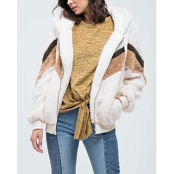 chevon sherpa poof zip up jacket - more colors