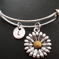 Sunflower stainless Steel Expandable Bangle, monogram personalized item No.317