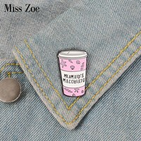 Pink coffee cup Enamel Pin MERMAID'S MACCHIATO badge brooch Lapel pin Denim Jeans shirt bag Cartoon Jewelry Gift for Friends