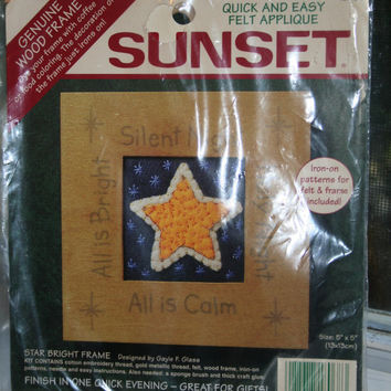Silent Night Christmas Star Felt Applique Kit with Wood Frame Sunset Quick and Easy
