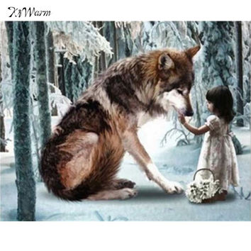Wolf and Little Girl Diamond Embroidery 5D Diamond DIY Painting Unfinished CrossStitch  Mosai Picture Printed Living Room Decor