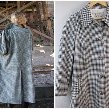 London Fog Vintage Trench Coat Plaid Long Maincoats Size Medium Large Blue Brown Beige
