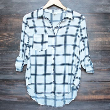 working at the rails button up gauzy plaid shirt in ivory