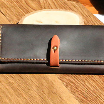 handstitch mens long leather wallet women's long leather wallet credit card wallet