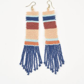 Ink + Alloy | SEED BEAD EARRING WITH FRINGE |  BLUE, PINK & TERRA COTTA STRIPE