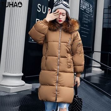 TUHAO 2017 New Women Long Winter Thick Warm Down Cotton Coat Feather Hooded Bat Sleeved Jacket Pure Color Fashion Parka LW37