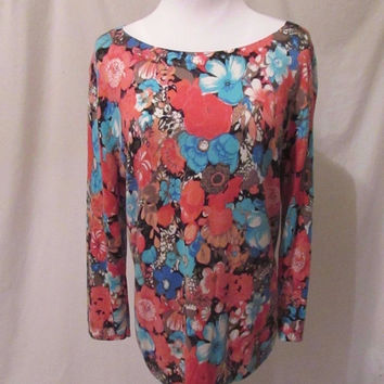 Talbots Reverse Cardigan Shirt Top Women's Size L Floral Fall Colors 3/4 Sleeve