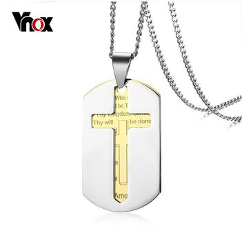 Vnox Men's Dog Tag Bible Necklace Stainless Steel Gold Color Cross Pendant Prayer Necklace 24 Inch Religious Jewelry