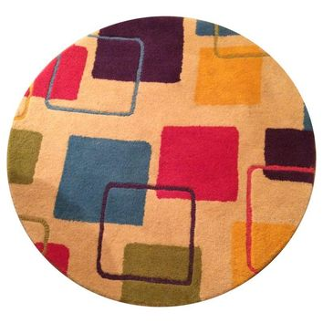 Pre-owned Colorful Contemporary Wool Rug - 3'x3'